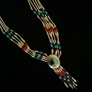 Silver and beaded necklace south western style